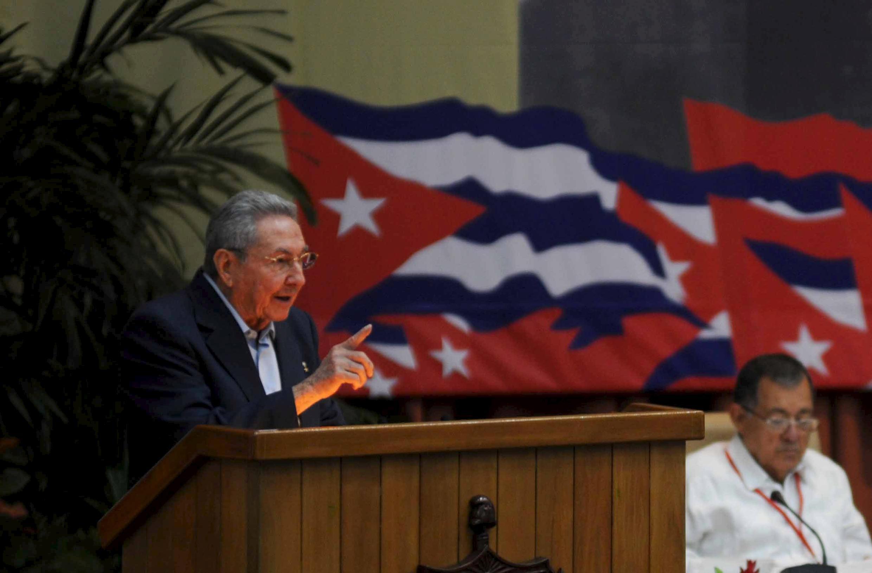 Chủ tịch Cuba Raul Castro đọc diễn văn khai mạc Đại hội đảng Cộng Sản Cuba lần thứ 7 tại La Habana, ngày 16/04/2016.