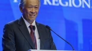 Bộ trưởng Quốc Phòng Singapore Ng Eng Hen phát biểu tại Diễn đàn Đối thoại Shangri-La lần thứ 17, Singapore, ngày 03/06/2018.