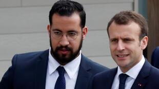 Alexandre Benalla e Emmanuel Macron em 12 de abril