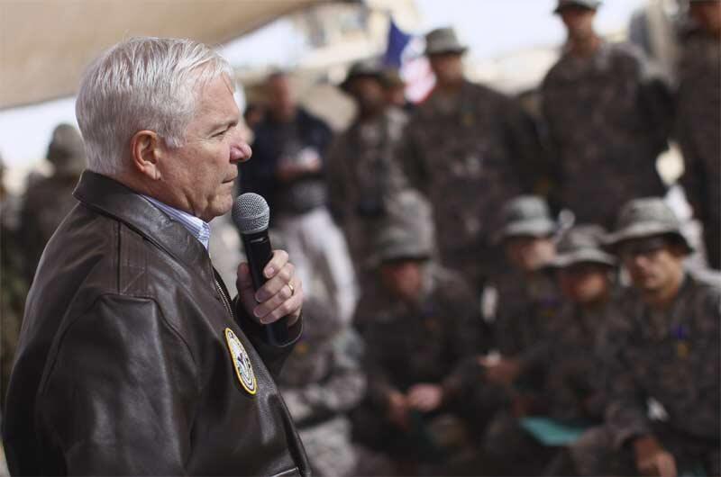 US Defence Secretary Robert Gates talks to troops in Kandahar province on 8 December