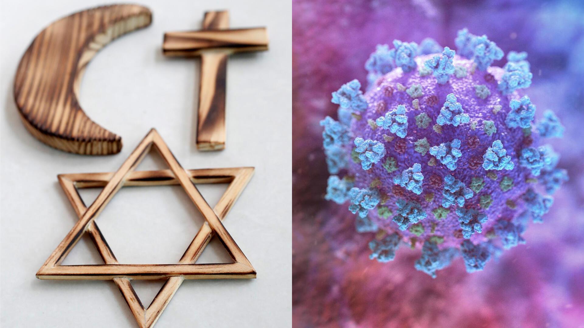 montage symboles religieux_covid 19_religions monde