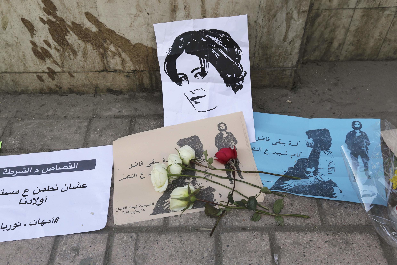 Hommage à Shaimaa al-Sabbagh, une jeune femme tuée lors d'une manifestation le 24 janvier. (photo du 29 janvier au Caire, en Egypte.