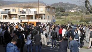 Le lycée Tocqueville de Grasse, jeudi 16 mars 2017. Toute une ville sous le choc dans le sud de la France après la fusillade.