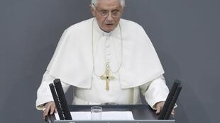 Le pape Benoît XVI, lors de son discours devant les députés allemands au Bundestag, le 22 septembre 2011.