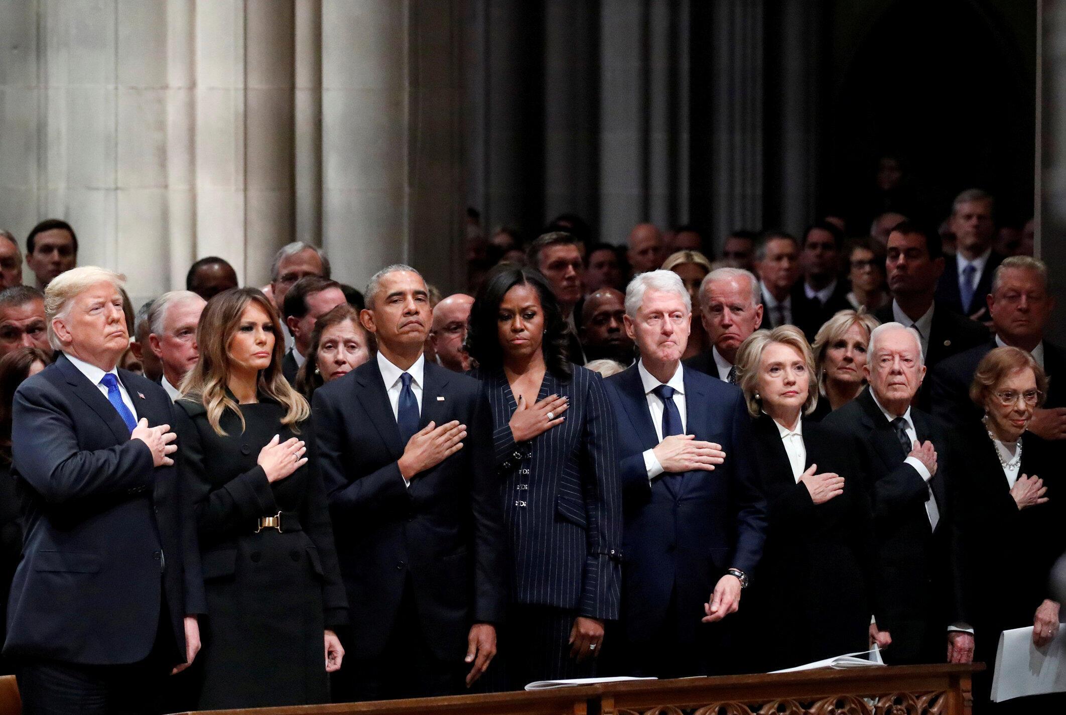 Đủ mặt tổng thống Mỹ các thời kỳ: Donald Trump, Barack Obama, Bill Clinton, Jimmy Carter trong tang lễ cố tổng thống George H.W.Bush tại Washington ngày 05/12/2018.