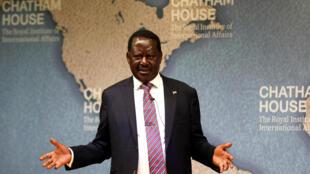 L'opposant kényan Raila Odinga lors d'une conférence à Londres à la Chatham House, le 13 octobre 2017.