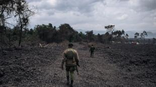Des gardes du parc national des Virunga patrouillent dans une zone près d'une coulée de lave solidifée du Nyiragongo, le 28 mai.