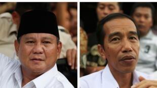 Les deux candidats à l'élection présidentielle en Indonésie, Prabowo Subianto (g) et Joko Widodo (d).