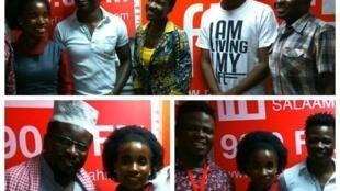 Wasanii kutoka Timamu African media wakiwa na watangazaji wa rfikiswahili walipotembelea studio  tarehe 13 Oct 2017