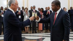 Marcelo Rebelo de Sousa e João Lourenço. Palácio Presidencial, em Luanda. 6 de Março de 2019.