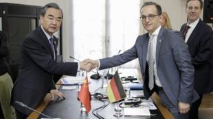 德国外长马斯(Heiko Maas )和中国外长王毅在柏林会见 2018年5月31日
