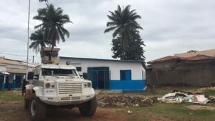 Le commissariat du 3e arrondissement, dans le quartier PK5, est en rénovation: les habitants attendent avec impatience le retour des forces de sécurité. Bangui, le 8 août 2019.