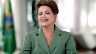 A presidente Dilma Rousseff em pronunciamento na TV no Dia Internacional da Mulher.