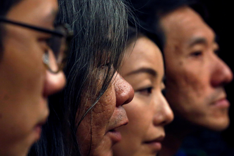 2017年7月 14日, 香港高等法院裁决褫夺泛民议员(从左至右)罗冠聪,梁国雄,,刘小丽及姚松炎四人的议员资格。