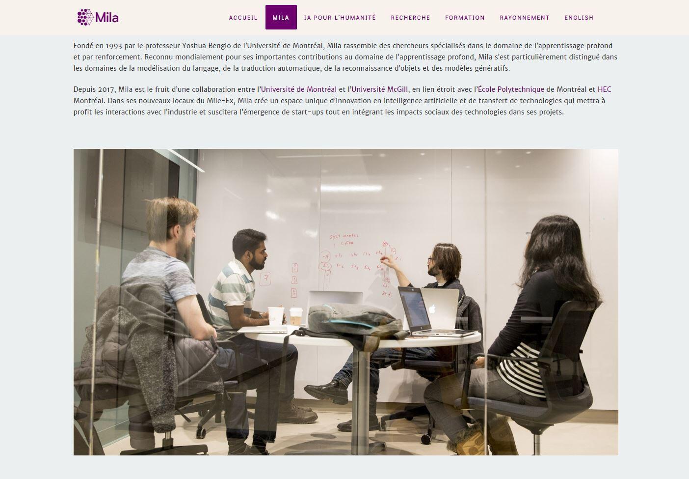 Capture d'écran issu du site internet de l'Institut québécois d'intelligence artificielle (Mila). Ce centre de recherche est mondialement connu pour son travail sur l'Intelligence artificielle.