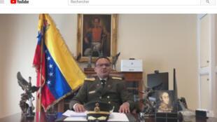 Capture d'écran de la vidéo de la déclaration du colonel José Luis Silva qui annonce son ralliement à Juan Guaido, samedi 26 janvier 2019.