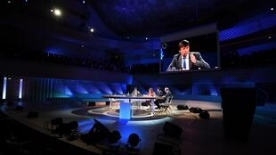 """Bộ trưởng Môi Trường Pháp, Nicolas Hulot, phát biểu tại Hội nghị khí hậu thế giới """"One Planet Summit"""" ngày 12/12/2017."""