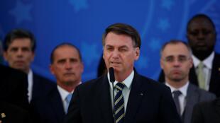 Tổng thống Brazil Bolsonaro phát biểu ngày 24/04/2020. Ông Bolsonaro bị chỉ trích vì phản đối lệnh phong tỏa chống Covid-19.