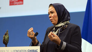 Latifa Ibn Ziaten, mother of a French soldier who was killed by an Islamist gunman in March 2012, delivers a speech after receiving the Chirac Foundation award for her work promoting inter-religious dialogue, in Paris on November 19, 2015.