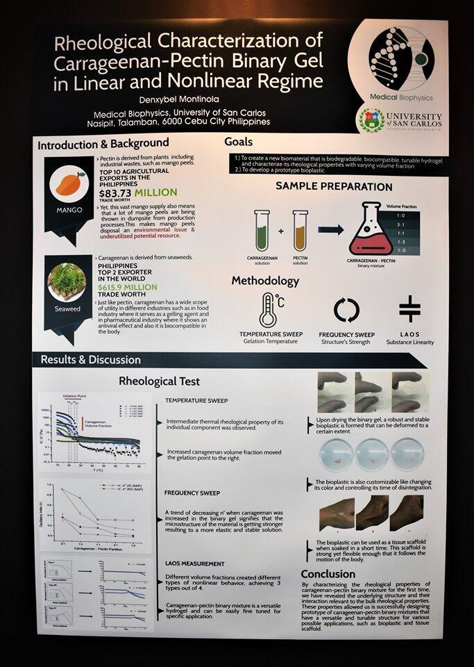"""The scientific poster of Denxybel Montinola's study titled, """"Rheological Characterization of Carrageenan-Pectin Binary Gel in Linear and Nonlinear Regime"""""""