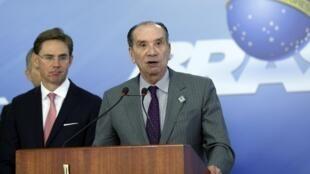 O ministro das Relações Exteriores do Brasil, Aloysio Nunes, durante reunião de trabalho com os chanceleres do Mercosul, no Palácio do Planalto, em novembro de 2017.