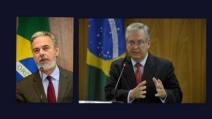O ex-ministro das Relações Exteriores Antonio Patriota (esq.) foi substituído por Luiz Alberto Figueiredo Machado (dir.).