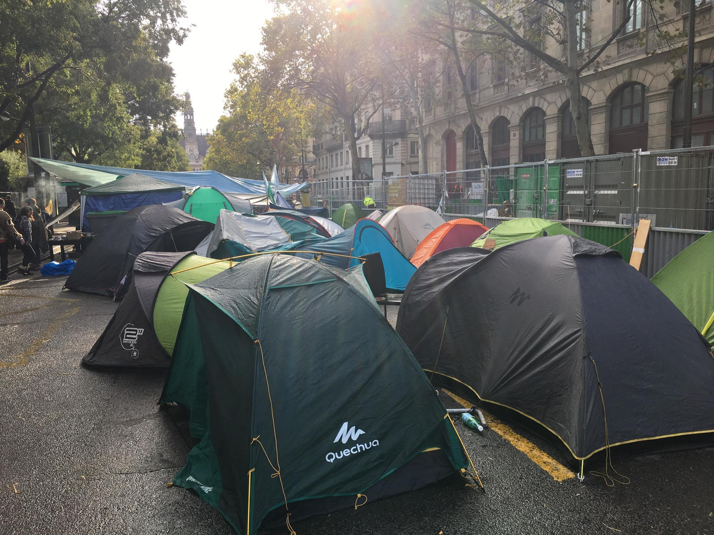 Dozens of tents housing some 200 activists are scattered around the Place du Chatelet. Many more people come to take part in activities throughout the day.