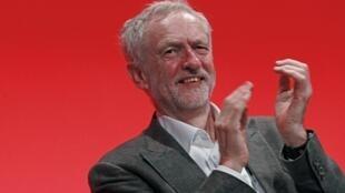 Le nouveau président du Parti travailliste, Jeremy Corbyn, au Congrès de Brighton, le 27 septembre 2015.