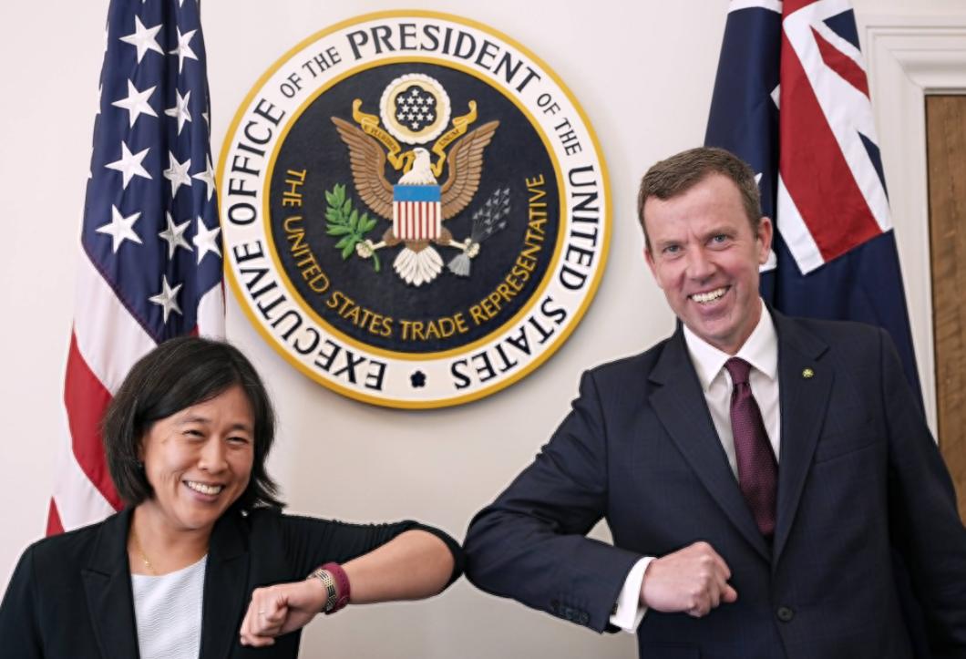美國貿易代表戴琪與澳大利亞貿易部長丹·特漢資料圖片