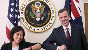 美国贸易代表戴琪与澳大利亚贸易部长丹·特汉资料图片