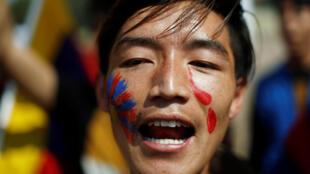 藏人在310拉萨事件60周年之际抗议中共在西藏的制度,印度,新德里