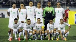 De gauche à droite et de haut en bas : Carl Medjani, Djamel Mesbah, Ismail  Bouzidi, Adlène Guedioura, Raïs Mboulhi,  Rafik Djebbour, Hilal Soudani el Arabi, Abderhamane Hachoud, Medhi Lacen, Ryad Boudebouz, Sofiane Feghouli.