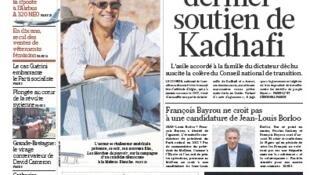 Manchete do jornal francês Le Figaro: Argélia se tornou o último apoio a Kadafi.
