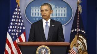 O presidente americano, Barack Obama, durante anúncio de sanções contra a Rússia, nesta segunda-feira (17), em Washington.