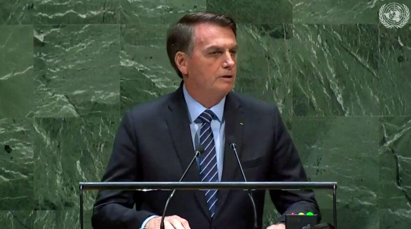 O presidente do Brasil, Jair Bolsonaro , abriu nesta terça os debates gerais da 74ª Assembleia Geral da Organização das Nações Unidas