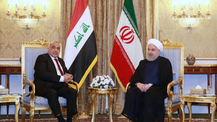 O presidente iraniano, Hassan Rohani (à direita), se encontrou com o primeiro-ministro iraquiano, Adel Abdel Mahdi, em Teerã, Irã, 22 de julho de 2019.