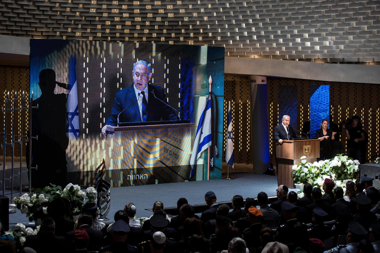 Benjamin Netanyahu lors d'une cérémonie à Jérusalem, à l'occasion de la journée annuelle du souvenir à la mémoire des soldats tués en service et des victimes d'attentats, le 8 mai 2019.