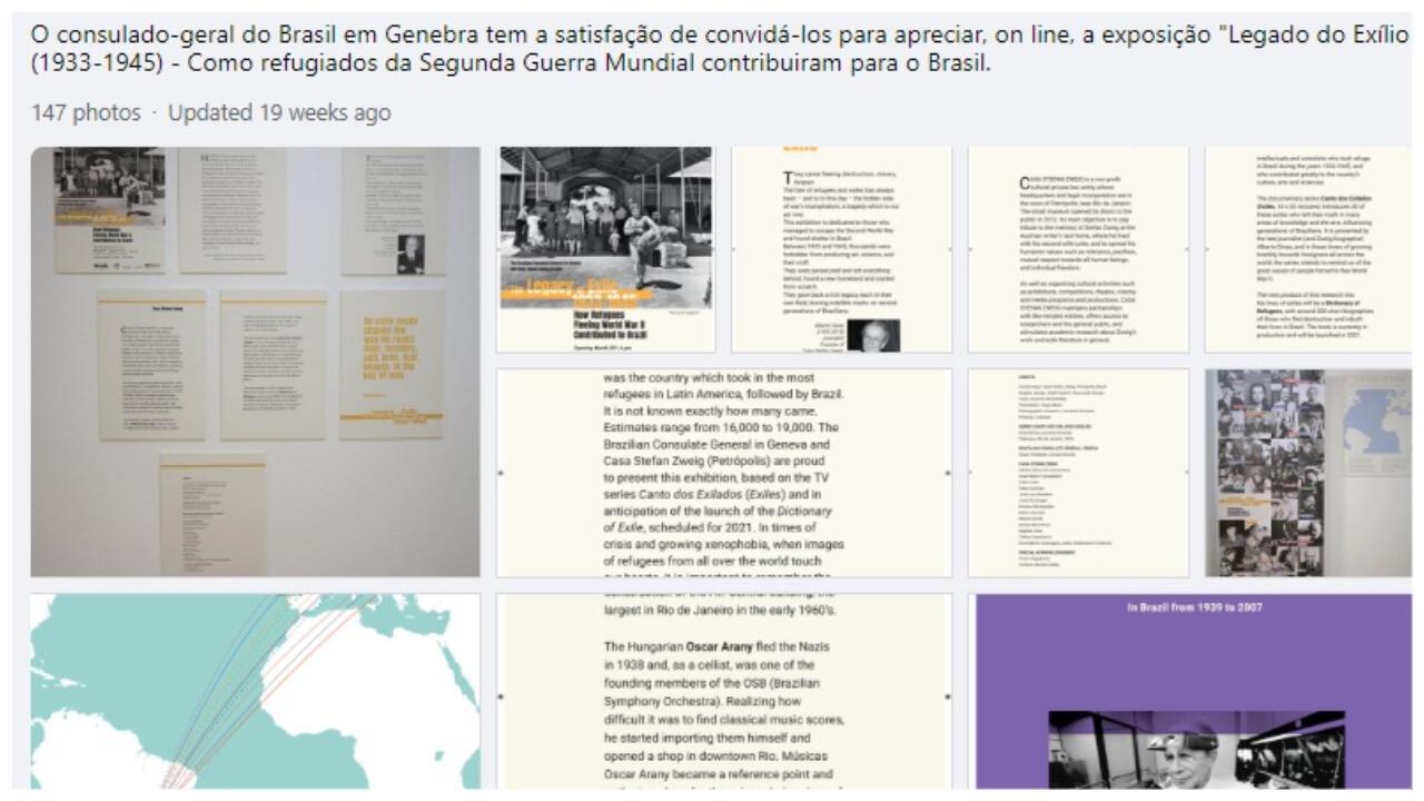 Reprodução da página do Consulado do Brasil em Genebra, onde se pode ver a exposição online.