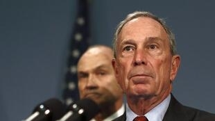 New York City Mayor Michael Bloomberg during a news conference with New York Police Department Commissioner Ray Kelly (L)