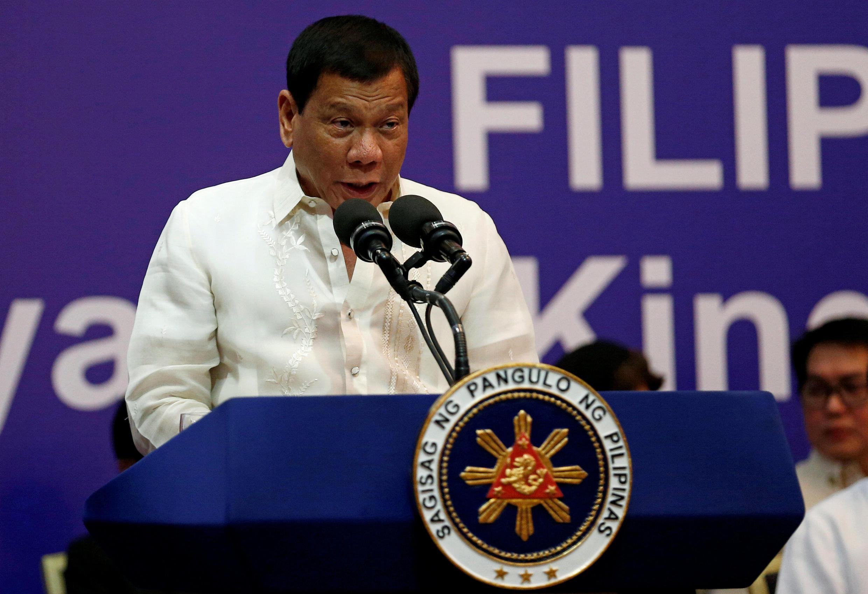 圖為菲律賓總統杜特爾特訪問沙特阿拉伯對當地菲律賓僑民演講