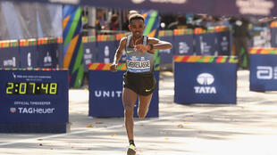 Ghirmay Ghebreslassie of Eritrea at the New York City Marathon on November 6, 2016