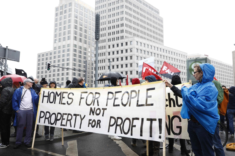 Manifestation à Berlin, le 14 avril 2018, pour dénoncer la «folie des loyers» dans les grandes villes d'Allemagne.