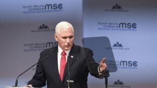 美国副总统彭斯2019年2月16日在慕尼黑国际安全会议上发言。