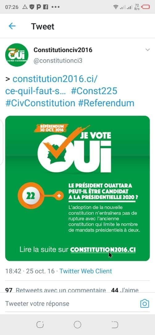 A photo showing a 2016 tweet published by Cote d'Ivoire's government stipulating that a new constitution would respect two-term presidential limit. The tweet has since been removed.