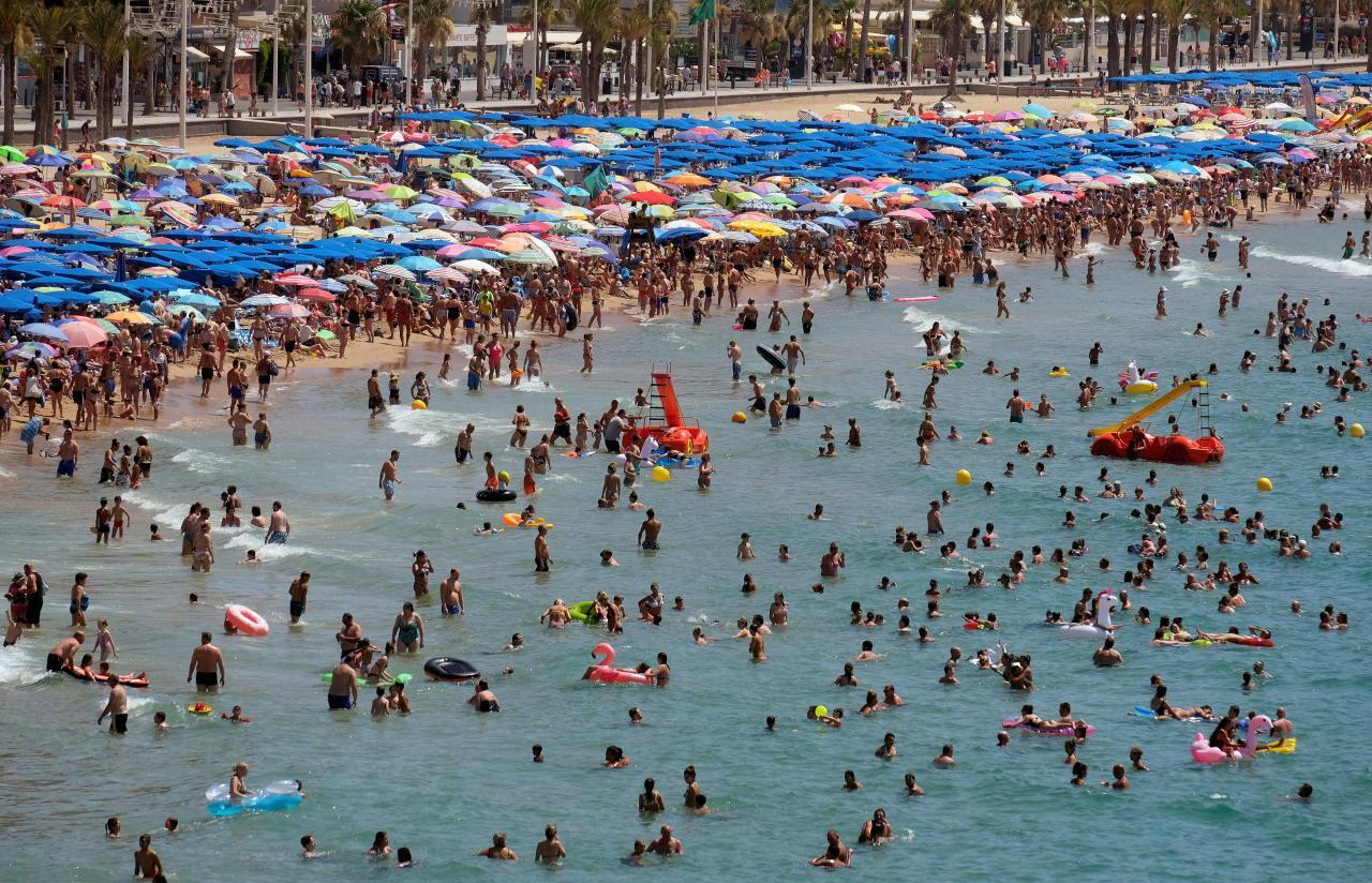 Benidorm, in Alicante, eastern Spain, is popular with young holidaymakers from around Europe.