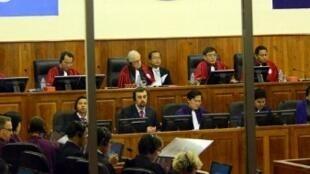 Một phiên xử Nuon Chea tại Tòa án quốc tế Phnom Penh,19/11/2011.