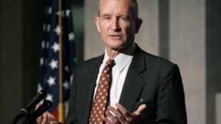 Dennis Blair, le patron du renseignement américain au cours d'un discours sur l'avenir du renseignement américain le 22 juillet 2009.