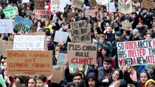 Les étudiants belges dans les rues de Bruxelles, le 24 janvier 2019.