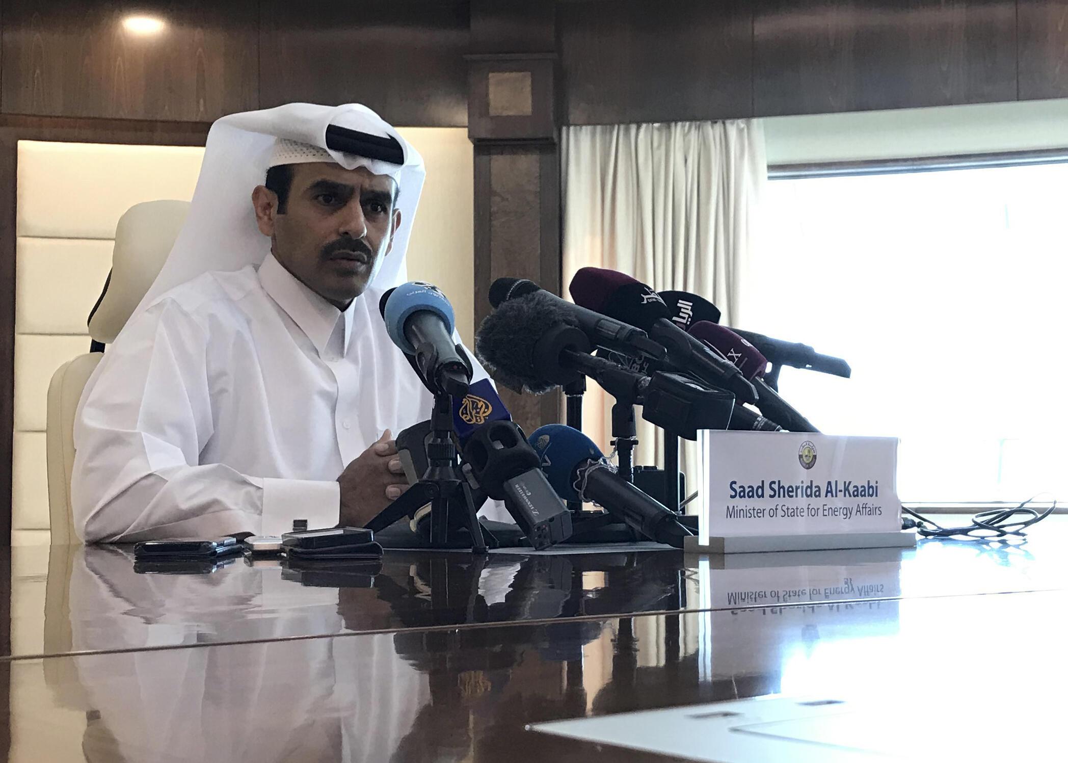 Le ministre d'Etat des Affaires énergétiques du Qatar, Saad Sherida Al-Kaabi, durant une conférence de presse à Doha alors que le Qatar annonce sa sortie de l'Opep, le 3 décembre 2018.