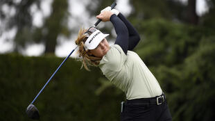 Canada's Brooke Henderson hits off the second tee during the final round of the LA Open at Wilshire Country Club in Los Angeles
